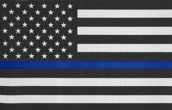 USA thin blue line flag. United States of America thin blue line flag Royalty Free Stock Photography