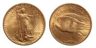 USA tjugo 20 dollar guld- mynt som isoleras av whtiebakgrund arkivbilder