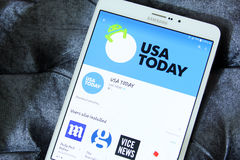 Usa today app logo. Downloading usa today application for usa news from google play store on samsung tab s2 royalty free stock photo