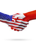 USA and Tonga flags concept cooperation, business, sports competition. USA and Tonga, countries flags, handshake concept cooperation, partnership, friendship stock photography