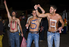 USA Topless Soccer Supporters - FIFA WC. USA fans shows support for their team at the 2010 FIFA soccer world cup Stock Images
