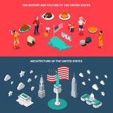 USA Touristic Attractions 2 Isometric Banners. USA landmarks historical sites culture traditions and cuisine for travelers 2 isometric horizontal banners Stock Images