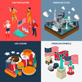 USA Touristic Concept Icons Set Stock Images