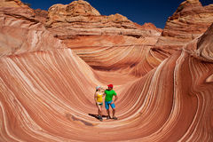 USA - tourists in the Coyote buttes recreational park - The wave Royalty Free Stock Images