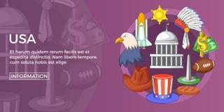 USA travel banner horizontal, cartoon style Royalty Free Stock Photography
