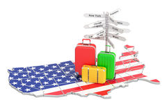 USA travel concept. US flag on map with suitcases and signpost, stock illustration