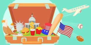 USA travel horizontal banner, cartoon style Royalty Free Stock Photos