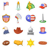 USA travel items icons set, cartoon style Stock Images