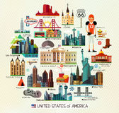 USA Travel Map. Vector Set of Various United States of America Icons on a Circle Shape Stock Photography