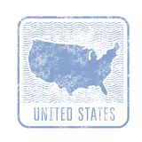 USA travel stamp with silhouette of map of United States of Amer. USA travel shabby stamp with silhouette of map of United States of America Vector Illustration