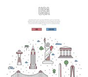 USA travel tour poster in linear style royalty free illustration