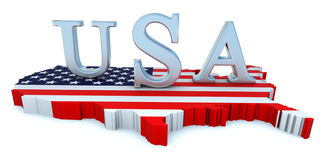 USA tribute. 3D rendered scene with map and logo Royalty Free Stock Images