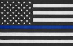 USA tunn blålinjenflagga royaltyfri fotografi
