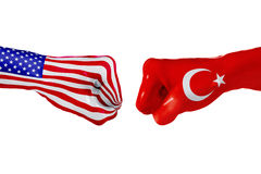 USA and Turkey flag. Concept fight, business competition, conflict or sporting events. USA and Turkey country flag. Concept fight, war, business competition royalty free stock photo