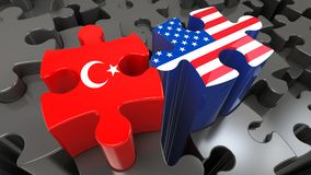 USA and Turkey flags on puzzle pieces. Political relationship concept. 3D rendering vector illustration