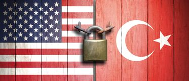 United States of America and Turkey flags on wooden door with padlock. 3d illustration royalty free illustration