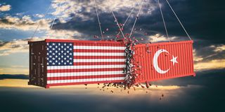 USA and Turkey trade war. US of America and Turkish flags crashed containers on sky at sunset background. 3d illustration Royalty Free Stock Photos