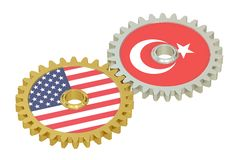 USA and Turkish flags on a gears, 3D rendering Royalty Free Stock Image