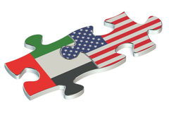 USA and UAE puzzles from flags Stock Image