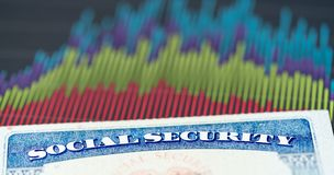 USA ubezpieczenia społecznego karta na wykresach dochód dla emerytura Obraz Stock