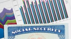 USA ubezpieczenia społecznego karta na wykresach dochód dla emerytura Obraz Royalty Free