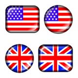 USA and UK Flag Button with 3d effect, isolated in vector illustration