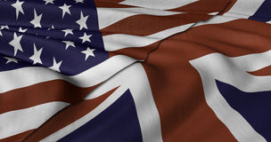USA and UK flag. Fluttering in light wind Stock Photography