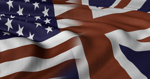 USA and UK flags. 3D illustration of USA and UK flag fluttering in light breeze Royalty Free Stock Image