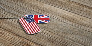 USA and UK military relations, Identification tags on wooden background. 3d illustration. USA and United Kingdom military relations, Identification dog tags on Stock Photos