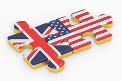 USA and UK puzzles from flags, relation concept. 3D rendering. USA and UK puzzles from flags, relation concept stock illustration