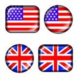 USA und BRITISCHE Markierungsfahne knöpfen mit dem Effekt 3d, innen getrennt Lizenzfreies Stockbild