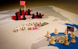 USA und China-Handelskonfliktkonzept lizenzfreie stockfotos