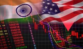 USA und die Indien-Handelskonfliktwirtschaftsexport Vereinigten Staaten von Amerika lizenzfreie stockbilder