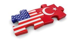 USA und die Türkei-Puzzlespiel von den Flaggen Stockbild
