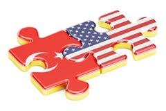 USA und die Türkei verwirrt von den Flaggen, Beziehungskonzept renderin 3D Lizenzfreie Stockfotos