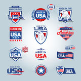 USA und gemacht in USA-Ikonen Amerikaner gemacht Satz Vektorikonen, Stempel, Dichtungen, Fahnen, Aufkleber, Logos, Ausweise Alle  stock abbildung
