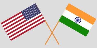 USA und Indien Amerikanische und indische Flaggen Offizielle Farben Korrekter Anteil Vektor lizenzfreie abbildung