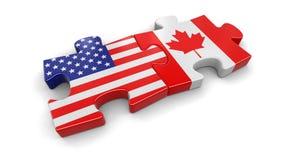 USA und Kanada-Puzzlespiel von den Flaggen Stockfotografie