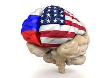 USA und Russland-Beziehungen dargestellt mit aufgeteiltem Gehirn Stockfotografie
