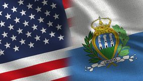 USA und San Marino Realistic Half Flags Together vektor abbildung