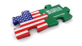 USA und Saudi-Arabien Puzzlespiel von den Flaggen Lizenzfreies Stockfoto