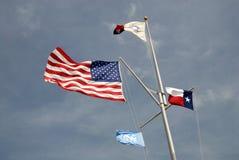 USA und Texas-Zustandmarkierungsfahnen Stockbilder