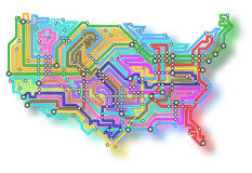 USA underground map Stock Photos