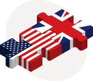 USA and United Kingdom Flags in puzzle Royalty Free Stock Image