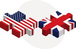 USA and United Kingdom Flags in puzzle Stock Photos