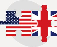 USA and United Kingdom Flags in puzzle Royalty Free Stock Photography