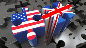 USA and United Kingdom flags on puzzle pieces. Political relationship concept. 3D rendering Royalty Free Stock Image