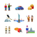 USA United States America American culture national vector flat Stock Images