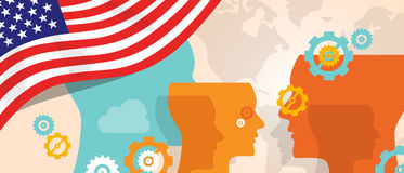 USA United States of America concept of thinking growing innovation discuss country future brain storming under. Different view represented with heads gears and vector illustration