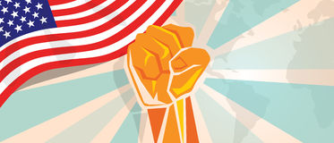 USA United States of America fight and protest independence struggle rebellion show symbolic strength with hand fist. Illustration and flag vector Stock Photo